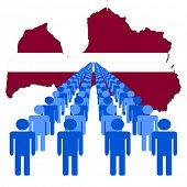 Lines of people with Latvia map flag vector illustration