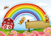 Illustration of a farm with an empty wooden board and a rainbow uphigh