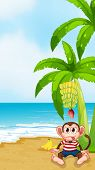 Illustration of a beach with a monkey under the banana