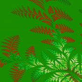 Asymmetrical Pattern Of The Leaves In Red And Green. On Green Background. Computer Generated Graphic