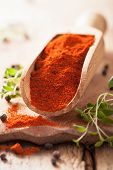 red ground paprika spice in wooden scoop