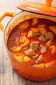 beef stew with potato and carrot in red casserole