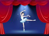 Illustration of a stage with a beautiful ballerina dancer