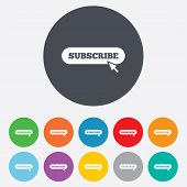 Subscribe with cursor pointer icon. Membership