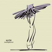 image of tutu  - art sketched legs of beautiful young ballerina in the ballet pose - JPG