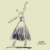 art sketched beautiful young ballerina with long tutu in the ballet pose