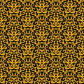 Damask pattern in gold on black