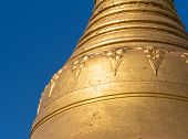 stock photo of yangon  - Detail of the Shwedagon Pagoda in Yangon the capital of Republic of the Union of Myanmar - JPG