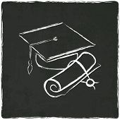 stock photo of credential  - Graduation cap and diploma on old background  - JPG