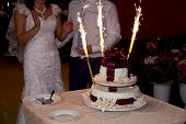 Wedding Cake With Sparklers