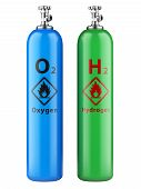 picture of hydrogen  - Hydrogen and oxygen cylinders with compressed gas isolated on a white background - JPG
