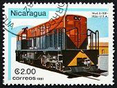 Postage Stamp Nicaragua 1981 U-10B, Diesel Locomotive