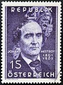 AUSTRIA - CIRCA 1962: stamp printed in Austria shows Johann Nestroy circa 1962