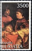 BURYATIA - CIRCA 1990: A stamp printed in Buryatia shows picture of Raphael