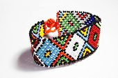image of zulu  - isolated traditional bright colorful beaded zulu bracelet