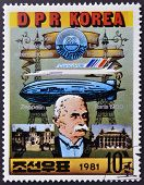 DPR KOREA- CIRCA 1981: A stamp printed in Korea shows portrait of Ferdinand von Zeppelin