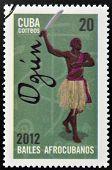 CUBA - CIRCA 2012: Stamp printed in Cuba dedicated to Afro-Cuban dance and Yoruba gods shows Ogun