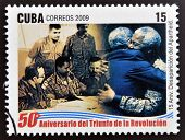 stamp dedicated to 50 anniversary of the triumph of the revolution shows Fidel and Mandela