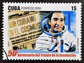 stamp 50 anniversary of the triumph of the revolution shows first Cuban in the cosmos Arnaldo Tamayo