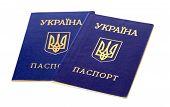 Ukrainian Passports Isolated On The White Background