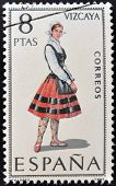 A stamp printed in Spain dedicated to Provincial Costumes shows a woman from Vizcaya