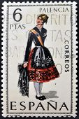 A stamp printed in Spain dedicated to Provincial Costumes shows a woman from Palencia