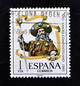 stamp printed in Spain shows the apostle Santiago Año Santo Compostela
