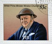 A stamp printed in Fiji shows British Prime Minister Winston Churchill