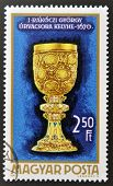 stamp printed in Hungary shows Communion cup of Gyorgy Rakoczy I