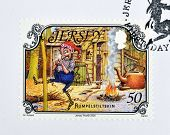 A stamp printed in Jersey shows Rumpelstiltskin