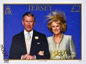 stamp printed in Jersey commemorating wedding the Prince of Wales and Camilla Parker Bowles