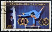 A stamp printed in Mongolia shows Acrobat