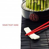 Chopsticks and a lucky bamboo plant - oriental style table serving concept