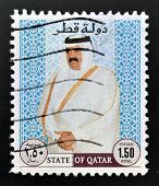 A stamp printed in Qatar shows Sheikh Khalifa bin Hamed Al-Thani Emir of Qatar