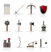 ícones de armas e objetos medievais
