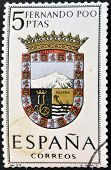 A stamp printed in Spain dedicated to Arms of Provincial Capitals shows Fernando Poo