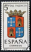 A stamp printed in Spain dedicated to Arms of Provincial Capitals shows Palencia