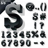 Vector alphabet of simple 3d glossy letters. Slab. Black Symbols
