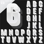 Vector alphabet of simple 3d glossy letters. Condensed. White Upper cases