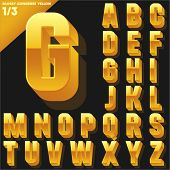 Vector alphabet of simple 3d glossy letters. Condensed. Yellow Upper cases