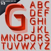 Vector alphabet of simple 3d glossy letters. Compact light. Red Upper cases