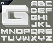 Vector alphabet of simple 3d glossy letters. Techno. Upper cases White