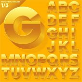 Vector alphabet of simple 3d glossy letters. Sans bold.  Yellow  Upper cases