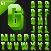 Vector alphabet of simple 3d glossy letters. Condensed. Green Upper cases