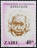 A stamp printed in Zaire shows Albert Einstein