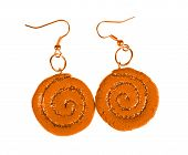 Yellow-brown Earrings With Sequins. Spiral
