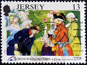 A stamp printed in Jersey shows D´Auvergne meets Louis XVI