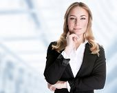 Confident business woman standing in the office, CEO of great corporate, luxury career, work place,