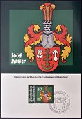 A stamp printed in Liechtenstein shows Arms of Johann Kaiser