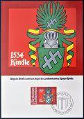 A stamp printed in Liechtenstein shows Arms of Kaspar Kindle